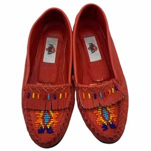 Prima red leather moccasins with beaded work